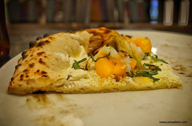 Pizzeria Addommè Streatham pizza ricotta, pomodorini, scampi
