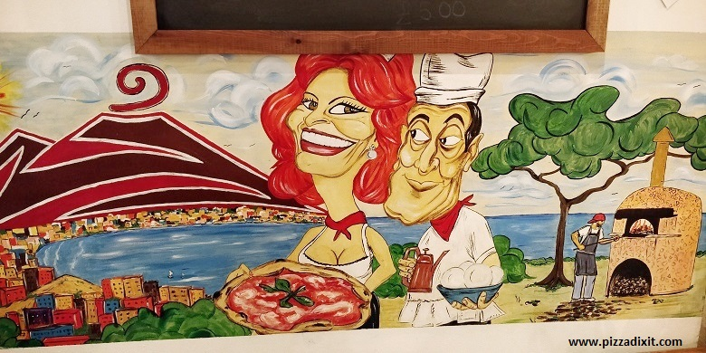 Pizzeria Pellone Clapham Londra murale Totò e Sofia