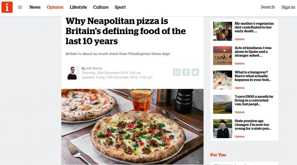 Why Neapolitan pizza is Britain's defining food of the last 10 years by Josh Barrie - iNews